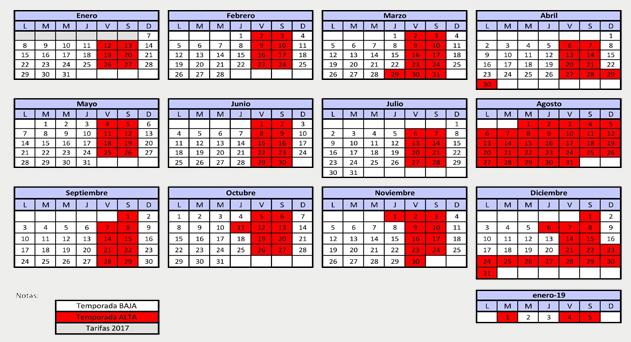 Calendario temporadas Arnedillo 2018